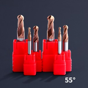 HRC 55 2-Flute Ball Nose End Mill With Coating